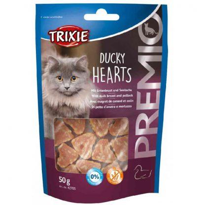 Trixie Premio Duck Hearts z kaczką i mintajem