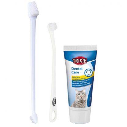 zestaw do mycia zębów kota szczoteczka i pasta serowa
